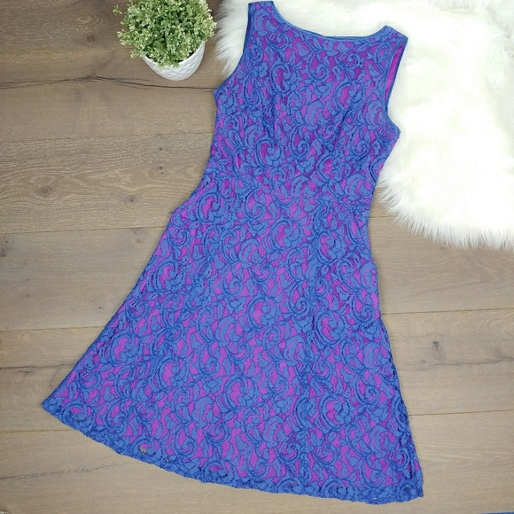 Adrianna Papell Lace Overlay A Line Pockets Dress
